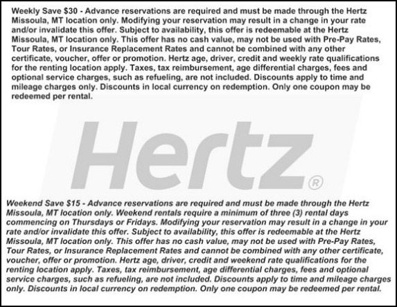 Hertz car rental coupons discounts