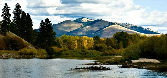 View of Mt. Sentinel from the river.